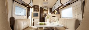 the inside of a large motorhome