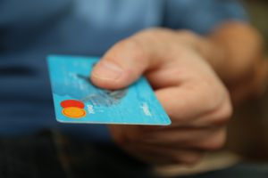credit card being used in motorhome shop